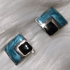 """Vintage 3/4"""" x 3/4"""" Silver Swirled Turquoise. Blk"""